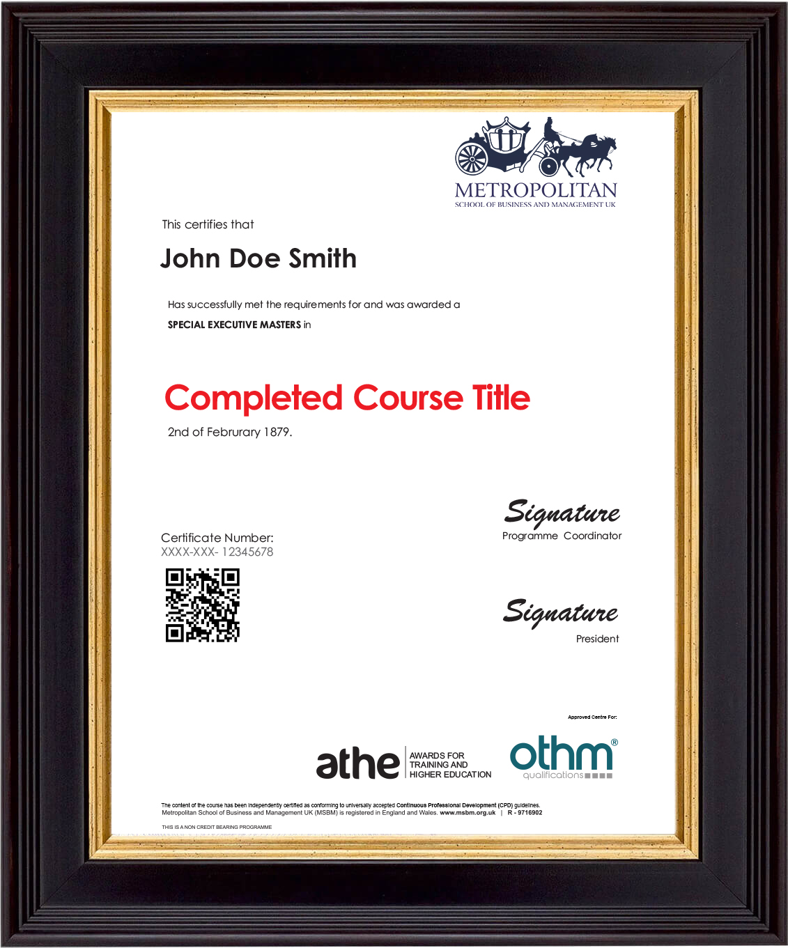 SEMP Online Sample Certificate